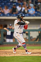Abraham Almonte (7) of the Reno Aces bats against the Nashville Sounds at Greater Nevada Field on June 5, 2019 in Reno, Nevada. The Aces defeated the Sounds 3-2. (Stephen Smith/Four Seam Images)