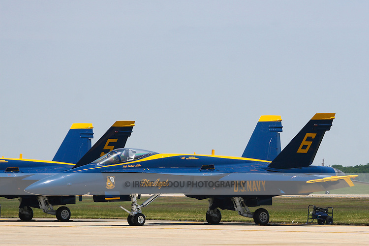 The elite U.S. Navy Blue Angels prepare for an afternoon of aerobatics at the 2008 Joint Service Air Show above Andrews Air Force Base.