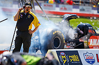 May 6, 2017; Commerce, GA, USA; An NHRA safety safari crew member on the starting line during qualifying for the Southern Nationals at Atlanta Dragway. Mandatory Credit: Mark J. Rebilas-USA TODAY Sports