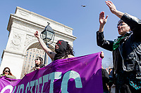 NEW YORK, NEW YORK - MARCH 8: A great march around the park took place during the women's strike in Washington Sq Park for Women's Day on March 8, 2020. in New York. 3,500 women were killed for gender reasons in 25 countries in Latin America and the Caribbean in 2019. UN said. (Photo by Pablo Monsalve / VIEWpress via Getty Images)