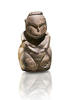 Styalised stone fiqurine. Catalhoyuk Collections. Museum of Anatolian Civilisations, Ankara. Against a white background