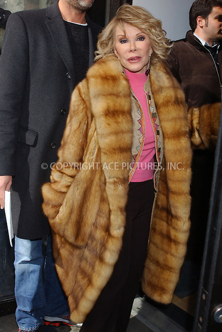 WWW.ACEPIXS.COM . . . . . ....NEW YORK, FEBRUARY 23, 2005....Joan Rivers seen out on 42nd Street.....Please byline: KRISTIN CALLAHAN - ACE PICTURES.. . . . . . ..Ace Pictures, Inc:  ..Philip Vaughan (646) 769-0430..e-mail: info@acepixs.com..web: http://www.acepixs.com