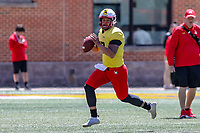 College Park, MD - April 27, 2019: Maryland Terrapins quarterback Tyler DeSue (13) passes the ball during the spring game at  Capital One Field at Maryland Stadium in College Park, MD.  (Photo by Elliott Brown/Media Images International)