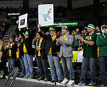 SIOUX FALLS, SD - MARCH 8:  Fans from North Dakota State cheer on the Bison against South Dakota State during the 2016 Summit League Championship Game Tuesday at the Denny Sanford Premier Center in Sioux Falls, S.D. (Photo by Dave Eggen/Inertia)