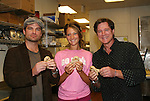 "Guiding Light's Daniel Cosgrove ""Billy Lewis"" and Frank Dicopoulos ""Frank Cooper"" go into the Panera Bread kitchen to learn from Kerry how to make Pink Ribbon Bagels as they donated thier time for Young Women's Breast Cancer Awareness Foundation by going to Pittsburgh, PA on October 7, 2008 and went Pink with Panera. They visited three of 27 Panera Bread locations during the day where 100% of sales from their Pink Ribbon bagels went to the foundation and a portion of those sales all during the month of October. For more information go to www.breastcancerbenefit.org. The day started out with Star 100.7 and the hosts Kate and JR interviewed Frank Dicopoulos. The two actors then went to the CBS studio in Pittsburgh in the morning. The day was a great hit. (Photo by Sue Coflin/Max Photos)"