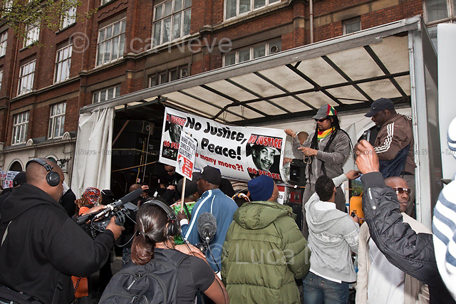 London, 16/04/2011. Hundreds of people gathered in front of New Scotland Yard, after marching from Wandsworth, to protest against the death in police custody of the British reggae music legend Smiley Culture. The murder allegedly happened when police officers were searching his house.
