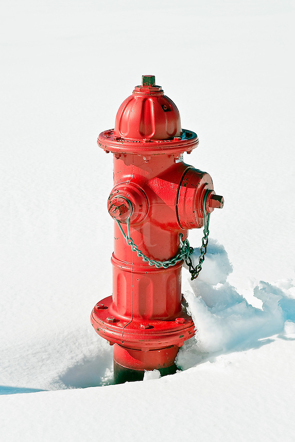 Red fire hydrant in sno.