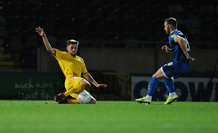 Bolton Wanderers' Sonny Graham vies for possession with Rochdale's Jimmy Ryan<br /> <br /> Photographer Kevin Barnes/CameraSport<br /> <br /> EFL Leasing.com Trophy - Northern Section - Group F - Rochdale v Bolton Wanderers - Tuesday 1st October 2019  - University of Bolton Stadium - Bolton<br />  <br /> World Copyright © 2018 CameraSport. All rights reserved. 43 Linden Ave. Countesthorpe. Leicester. England. LE8 5PG - Tel: +44 (0) 116 277 4147 - admin@camerasport.com - www.camerasport.com