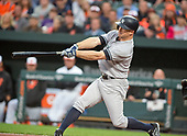 New York Yankees left fielder Brett Gardner (11) connects for a lead-off home run in the first inning giving his team an early 1 - 0 lead against the Baltimore Orioles at Oriole Park at Camden Yards in Baltimore, MD on Tuesday, May 30, 2017.<br /> Credit: Ron Sachs / CNP<br /> (RESTRICTION: NO New York or New Jersey Newspapers or newspapers within a 75 mile radius of New York City)