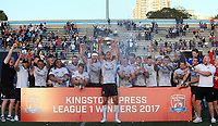 TORONTO, ON - SEPTEMBER 09:  Craig Hall #4 of Toronto Wolfpack lifts the Championship 1 Promotion Trophy after victory over Barrow Raiders following a Kingstone Press League 1 Super 8s match at Lamport Stadium on September 9, 2017 in Toronto, Canada.  (Photo by Vaughn Ridley/SWpix.com)