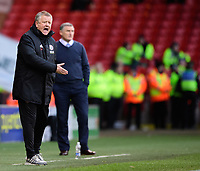 Sheffield United manager Chris Wilder shouts instructions to his team from the technical area<br /> <br /> Photographer Chris Vaughan/CameraSport<br /> <br /> The EFL Sky Bet Championship - Sheffield United v Blackburn Rovers - Saturday 29th December 2018 - Bramall Lane - Sheffield<br /> <br /> World Copyright © 2018 CameraSport. All rights reserved. 43 Linden Ave. Countesthorpe. Leicester. England. LE8 5PG - Tel: +44 (0) 116 277 4147 - admin@camerasport.com - www.camerasport.com