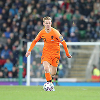 16th November 2019; Windsor Park, Belfast, County Antrim, Northern Ireland; European Championships 2020 Qualifier, Northern Ireland versus Netherlands; Netherland's Frankie de Jong pushes forward - Editorial Use