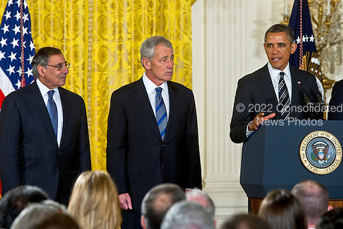 United States Secretary of Defense Leon E. Panetta and former U.S. Senator Chuck Hagel (Republican of Nebraska) listen as U.S. President Barack Obama addresses audience members at the nomination announcement for Hagel as the next Secretary of Defense in the East Room of the White House, Monday, January 7, 2013. .Mandatory Credit: Chad J. McNeeley / DoD via CNP