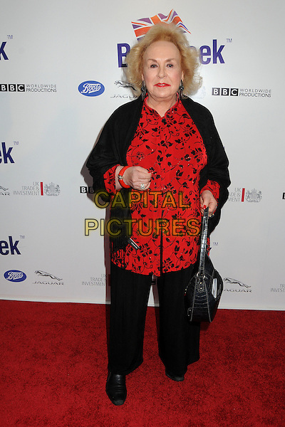 Doris Roberts .BritWeek 2012 Official Launch held at a Private Residence, Los Angeles, California, USA..April 24th, 2012.full length black trousers blouse red print.CAP/ADM/BP.©Byron Purvis/AdMedia/Capital Pictures.