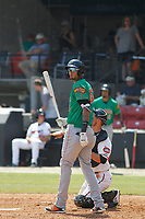 Down East Wood Ducks outfielder Jairo Beras (16) at bat during a game against the Carolina Mudcats  on April 27, 2017 at Five County Stadium in Zebulon, North Carolina. Carolina defeated Down East 9-7. (Robert Gurganus/Four Seam Images)