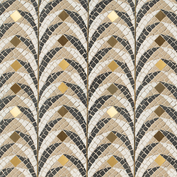 Eliot, a hand-chopped stone mosaic, shown in tumbled Dolomite, Lagos Gold, Nero Marquina, and brushed Brass, is part of the Bright Young Things™ collection by New Ravenna.