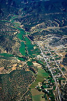 A rural town and agricultural lands occupy this small valley in the rocky mountain area near Zion National Park