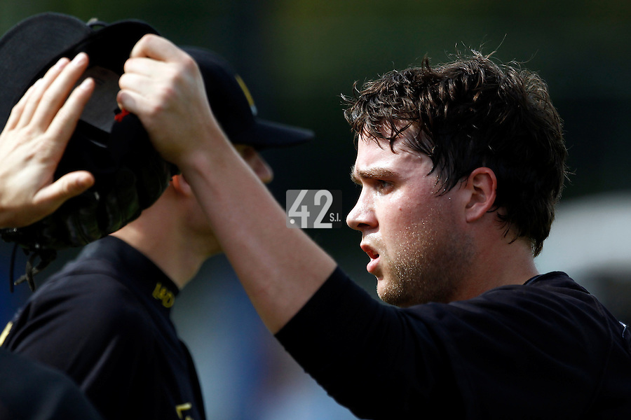 10 September 2011: Starting pitcher Jos de Jong of L&D Amsterdam Pirates celebrates during game 4 of the 2011 Holland Series won 6-2 by L&D Amsterdam Pirates over Vaessen Pioniers, in Amsterdam, Netherlands.