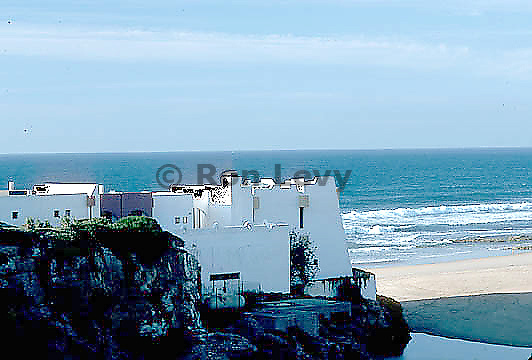White-washed home along coast of Tangier, Morocco
