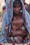 Somali woman  and child at feeding station, Wajir, Somaliland, Kenya