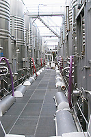 Mont Tauch Cave Cooperative co-operative In Tuchan. Fitou. Languedoc. Stainless steel fermentation and storage tanks. France. Europe.