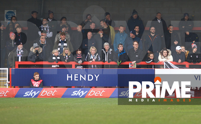 A Grimsby Town fans during the Sky Bet League 2 match between Crawley Town and Grimsby Town at The People's Pension Stadium, Crawley, England on 25 January 2020. Photo by Alan  Stanford / PRiME Media Images.