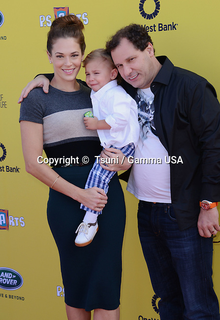 Amanda Righetti, husband Jornad Alan  and son Know Alan 250 2014 P.S. Arts Express Yourself event at  the Barker Hangar in Santa Monica. LA<br /> November 16, 2014