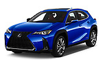 2019 Lexus UX F-Sport  5 Door SUV angular front stock photos of front three quarter view