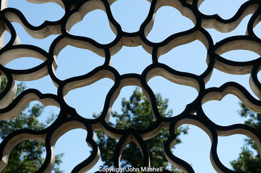 Lattice window in Dr. Sun Yat-Sen Park, Chinatown, Vancouver, British Columbia, Canada