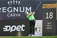 Tapio Pulkkanen (FIN) tees off the 18th tee during Sunday's Final Round of the 2018 Turkish Airlines Open hosted by Regnum Carya Golf &amp; Spa Resort, Antalya, Turkey. 4th November 2018.<br /> Picture: Eoin Clarke | Golffile<br /> <br /> <br /> All photos usage must carry mandatory copyright credit (&copy; Golffile | Eoin Clarke)
