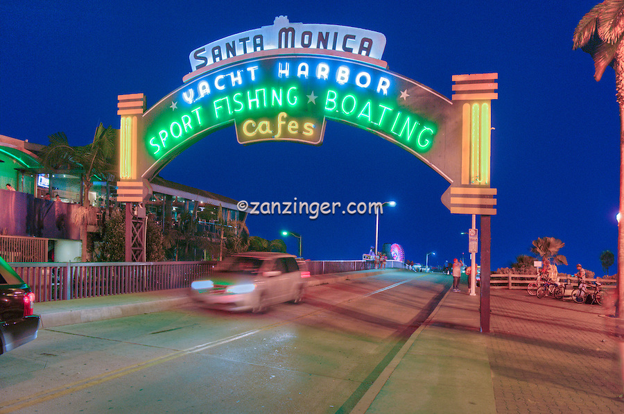 Santa Monica Pier, Sign, Lit at night, Pacific Park, Ca, Gold Coast, Beach City, Santa Monica beach, United States of America, North America,