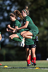 31 August 2014: UAB players warmup before the game. The Duke University Blue Devils hosted the University of Alabama Birmingham Blazers at Koskinen Stadium in Durham, North Carolina in a 2014 NCAA Division I Women's Soccer match. Duke won the game 3-1.