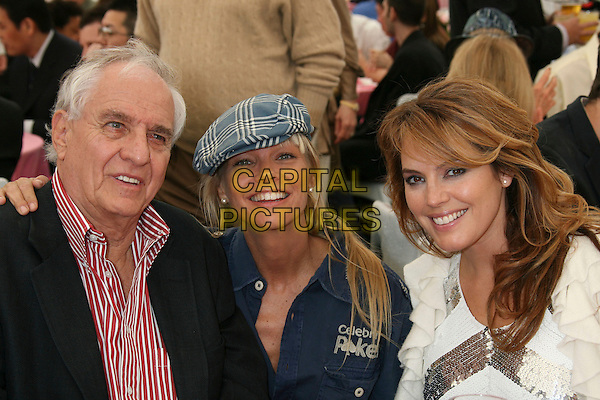 GARRY MARSHALL, JULIE McCULLOUGH & SANDRA TAYLOR .2007 Playmate of the Year Luncheon held at the Playboy Mansion,  Holmby Hills, California, USA, 03 May 2007..half length.CAP/ADM/RE.©Russ Elliot/AdMedia/Capital Pictures.