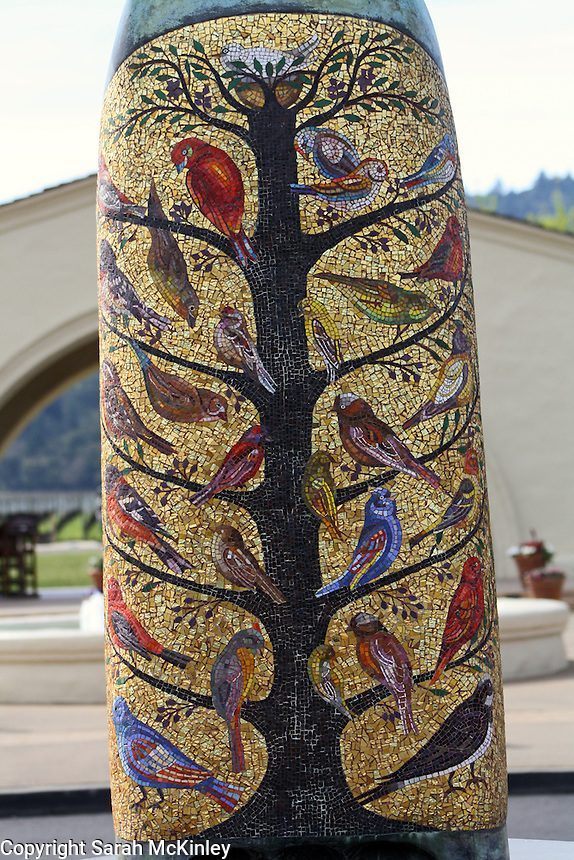 The mosaic of birds on the robe of the St. Francis statue at Mondavi Vineyard outside of Napa in Napa County in Northern California.