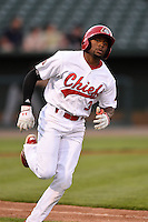 Peoria Chiefs outfielder C.J. McElroy (3) runs to first during a game against the Kane County Cougars on June 2, 2014 at Dozer Park in Peoria, Illinois.  Peoria defeated Kane County 5-3.  (Mike Janes/Four Seam Images)