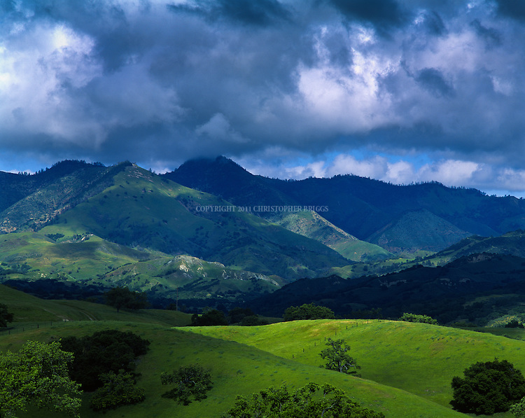 Rolling foothills of the San Rafael Mountain Range in spring. Santa Barbara County, CA.
