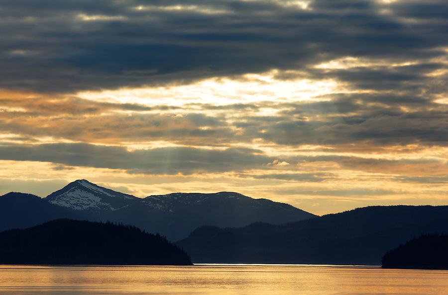 Sunset over Stikine Strait, Inside Passage, Southeast Alaska