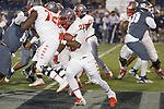 New Mexico running back Ahmari Davis (28) breaks free against Nevada in the first half of an NCAA college football game in Reno, Nev., Saturday, Nov. 2, 2019. (AP Photo/Tom R. Smedes)