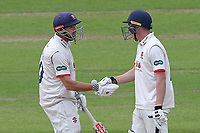 Nicke Browne and Daniel Lawrence of Essex enjoy a useful partnership during Nottinghamshire CCC vs Essex CCC, Specsavers County Championship Division 1 Cricket at Trent Bridge on 1st July 2019