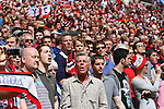 LONDON, ENGLAND - MAY 12: York City fans singing the national anthem before the FA Carlsberg Trophy Final between York City and Newport County at Wembley Stadium on May 12, 2012 in London, England. (Photo by Dave Horn - Extreme Aperture Photography)