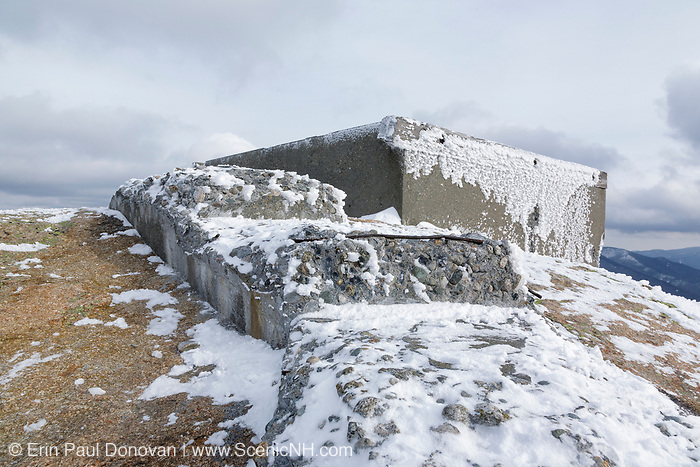 Appalachian Trail - Remnants of the Mount Garfield Tower on the summit of Mount Garfield in the White Mountains, New Hampshire USA during the winter months. This tower operated from 1940-1948.
