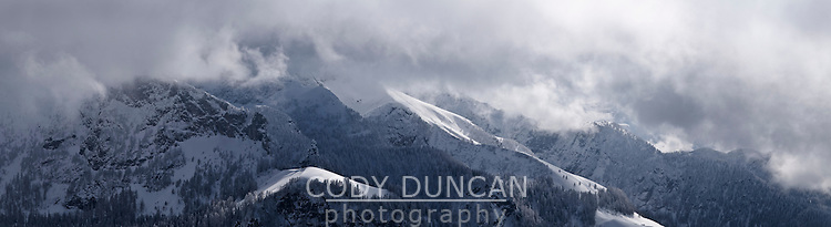 Winter storm over mountains of Berchtesgaden national park as viewed from Jenner, Bavaria, Germany