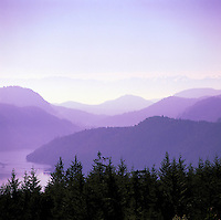 Scenic View from Malahat Drive Summit, Vancouver Island, BC, British Columbia, Canada