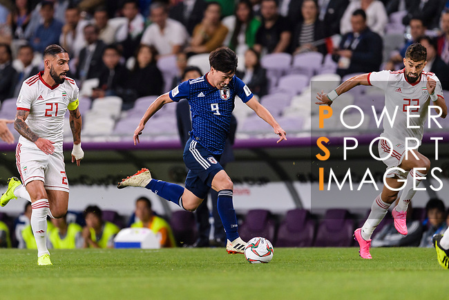 Minamino Takumi of Japan (C) in action during the AFC Asian Cup UAE 2019 Semi Finals match between I.R. Iran (IRN) and Japan (JPN) at Hazza Bin Zayed Stadium  on 28 January 2019 in Al Alin, United Arab Emirates. Photo by Marcio Rodrigo Machado / Power Sport Images