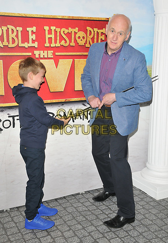 """guest and Terry Deary at the """"Horrible Histories: The Movie - Rotten Romans"""" world film premiere, Odeon Luxe Leicester Square, Leicester Square, London, England, UK, on Sunday 07th July 2019.<br /> CAP/CAN<br /> ©CAN/Capital Pictures"""