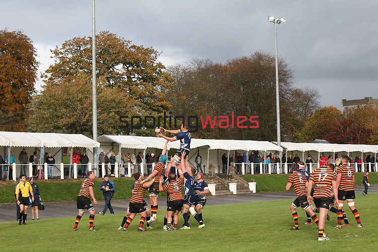 Leinster replacement Ross Molony takes the line out ball.<br /> British &amp; Irish Cup<br /> Carmarthen Quins v Leinster A<br /> Carmarthen Park<br /> 25.10.14<br /> &copy;Steve Pope-SPORTINGWALES