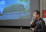 December 22, 2015, Tokyo, Japan - Designer Kengo Kuma speaks during a news conference in Tokyo on Tuesday, December 22, 2015, explaining the winning design for the new National Stadium. The government picked the design by architect Kuma which incorporates traditional aspects of Japanese architecture, putting an end to the longstanding brouhaha over the venue that is expected to be the centerpiece of the 2020 Tokyo Olympics.  (Photo by Natsuki Sakai/AFLO) AYF -mis-