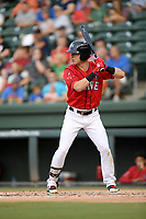 Left fielder Jordan Wren (3) of the Greenville Drive bats in a game against the Asheville Tourists on Friday, August 23, 2019, at Fluor Field at the West End in Greenville, South Carolina. Greenville won, 11-1. (Tom Priddy/Four Seam Images)