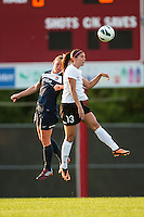 Sky Blue FC defender Christie Rampone (3) goes up for a header with Portland Thorns forward Alex Morgan (13). Sky Blue FC and the Portland Thorns played to a 0-0 tie during a National Women's Soccer League (NWSL) match at Yurcak Field in Piscataway, NJ, on June 22, 2013.