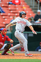 Lehigh Valley IronPigs catcher John Suomi #10 during the first game of a double header against the Buffalo Bisons on June 7, 2013 at Coca-Cola Field in Buffalo, New York.  Buffalo defeated Lehigh Valley 4-3.  (Mike Janes/Four Seam Images)